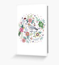 Beautiful bird in flowers Greeting Card