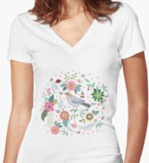 Beautiful bird in flowers Women's Fitted V-Neck T-Shirt