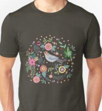 Beautiful bird in flowers Unisex T-Shirt