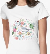 Beautiful bird in flowers Womens Fitted T-Shirt