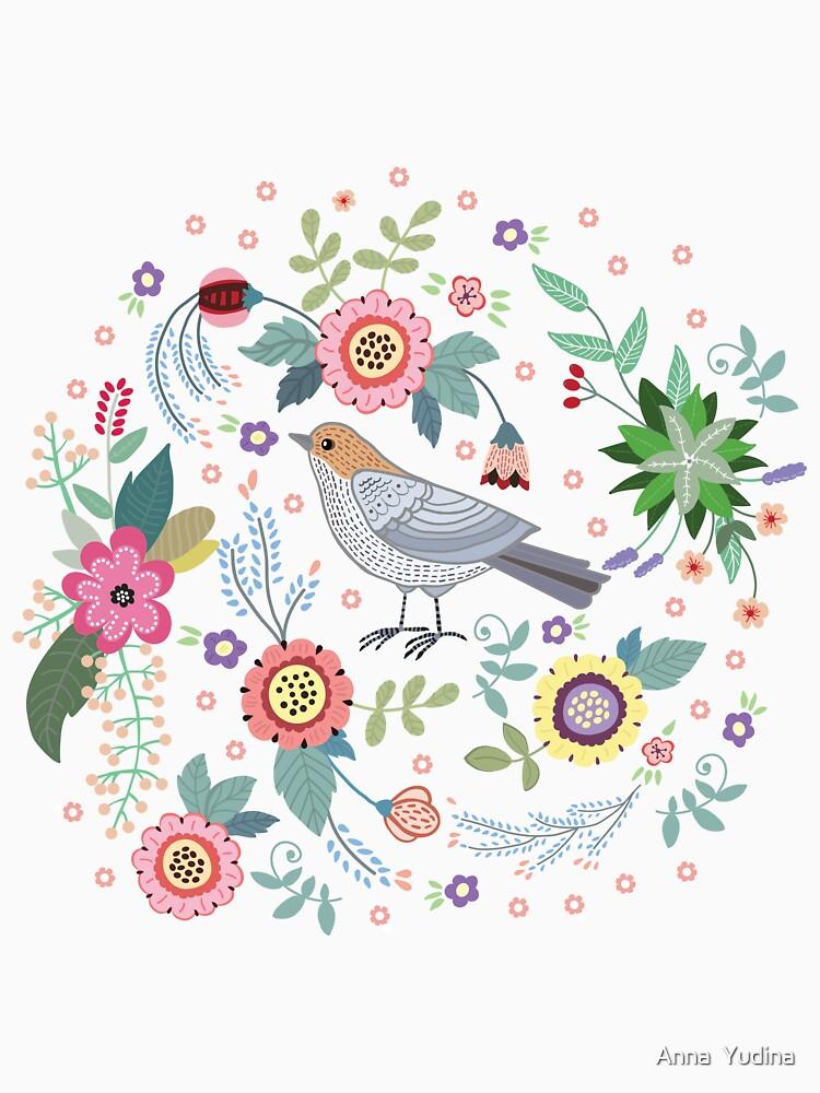 Hermoso pájaro en flores de Anutina