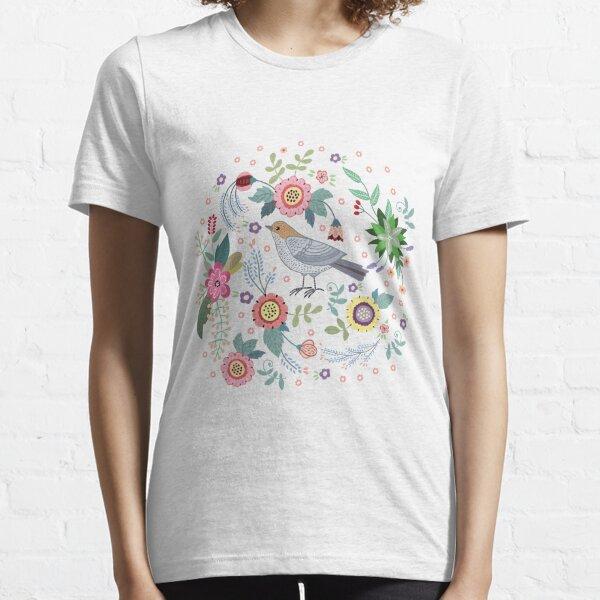 Beautiful bird in flowers Essential T-Shirt