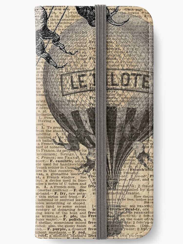 French Hot Air Balloon Vintage Engraving Old Dictionary Page Background Art Iphone Wallet By Dictionaryart Redbubble