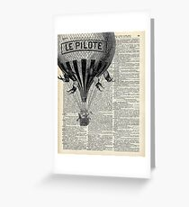 French Hot Air Balloon Vintage Engraving,Old Dictionary Page Background Art Greeting Card