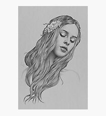 Patience digital illustration of a young girl Photographic Print