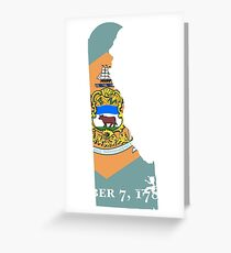 Flag Map of Delaware  Greeting Card