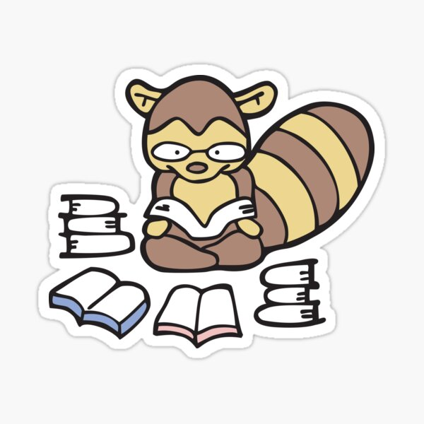 Nerdy Raccoon Reading Books Sticker