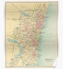 Vintage Map of Madras India (1909) Poster