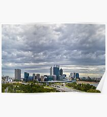 Perth City from Kings Park during Elizabeth Quay works Poster
