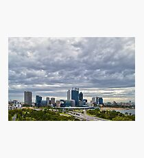 Perth City from Kings Park during Elizabeth Quay works Photographic Print