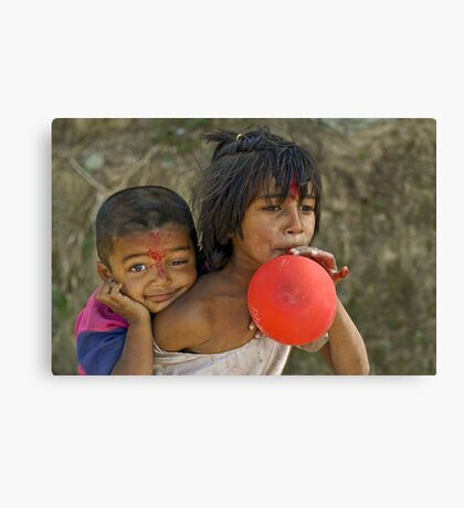 Nepali little brother and sister Canvas Print