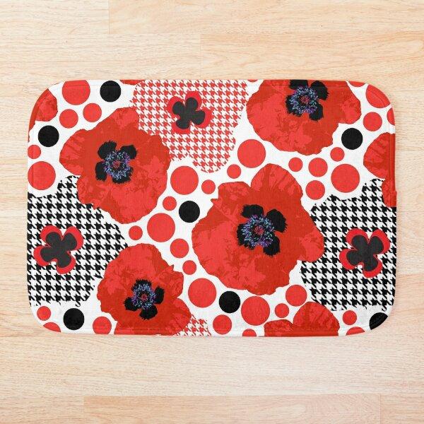 Oriental Red Poppy Garden Bath Mat