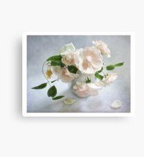 Pale Pink Vintage Roses Still Life Canvas Print