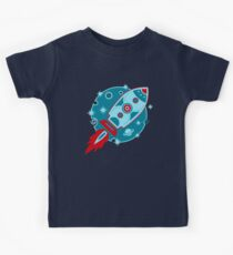 Retro rocket, planet, space, galaxy, science fiction, stars Kids Clothes