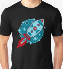 Retro rocket, planet, space, galaxy, science fiction, stars T-Shirt