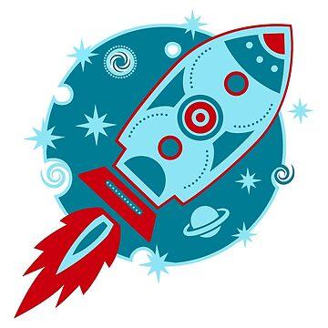 Cohete retro, planeta, espacio, galaxia, ciencia ficción, estrellas de boom-art