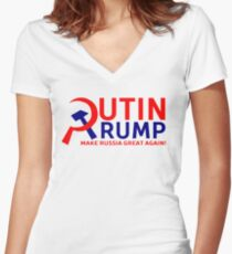 Putin Trump Make Russia Great Again Women's Fitted V-Neck T-Shirt
