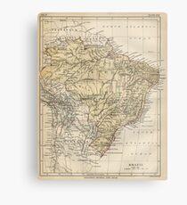 Vintage Map of Brazil (1889) Metal Print