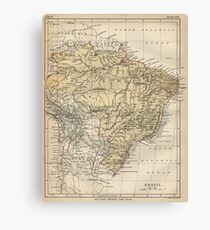 Vintage Map of Brazil (1889) Canvas Print