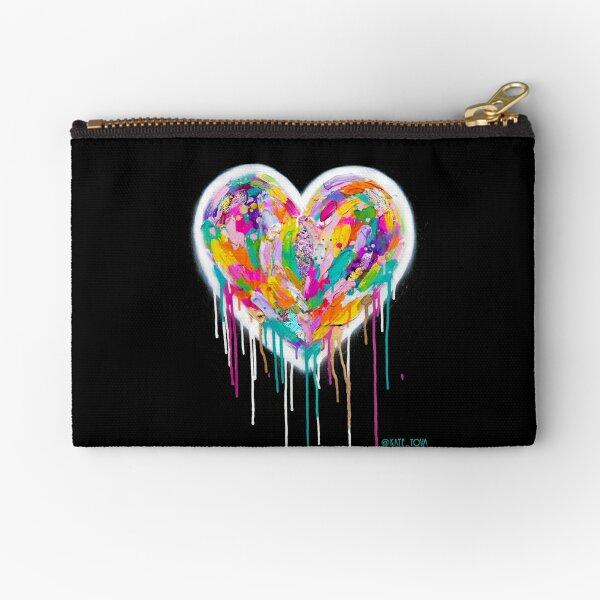 Street Heart (White on Black) Zipper Pouch