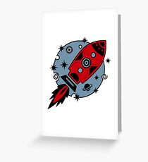 Retro rocket, planet, space, galaxy, science fiction, stars Greeting Card