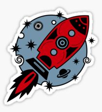 Retro rocket, planet, space, galaxy, science fiction, stars Sticker