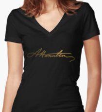 Alexander Hamilton Gold Signature Women's Fitted V-Neck T-Shirt