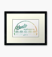 Green Kanto Poké Ball Company on White Framed Print