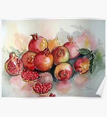 Pomegranates in Watercolour Poster