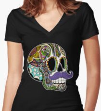 Mustache Sugar Skull (Color Version) Women's Fitted V-Neck T-Shirt