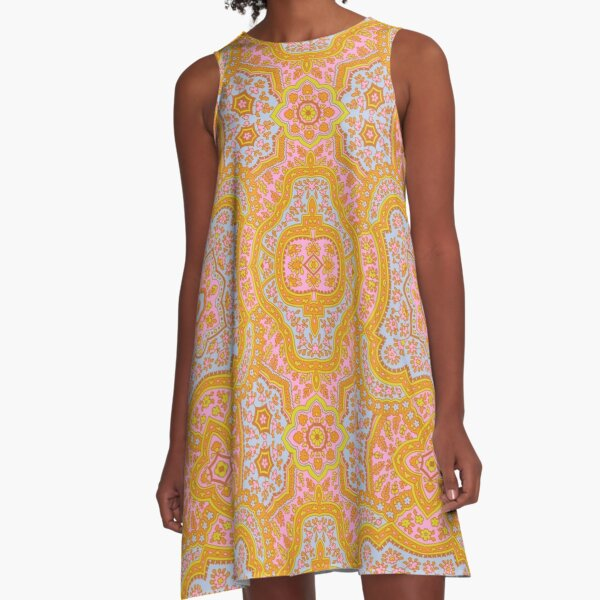 Coral Paisley-Traditional Orange Paisley A-Line Dress