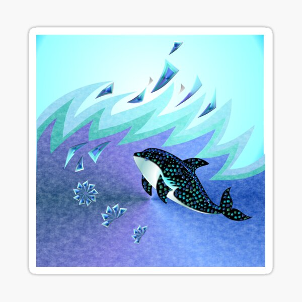 MOSAIC WHALE 103 OCEAN WAVE-square Sticker