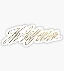 Pegatina Thomas Jefferson Gold Signature