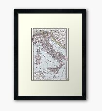 Vintage Map of Italy (1905) Framed Print