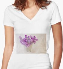 Lavender Sweet Peas And Chiffon Women's Fitted V-Neck T-Shirt