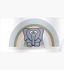 Cool Funny Cartoon Elephant Rainbow Cute Design Poster