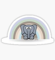 Cool Funny Cartoon Elephant Rainbow Cute Design Sticker
