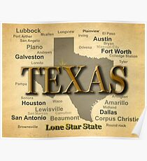 Texas Map Silhouette  Poster