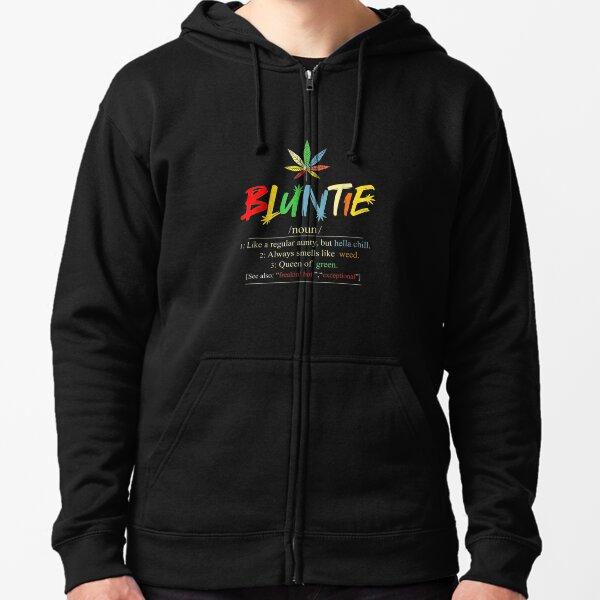 Funny Retro Vintage aunt wear Bluntie Funny Aunt Weed Zipped Hoodie