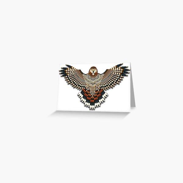 Beadwork Red-Tail Hawk Greeting Card