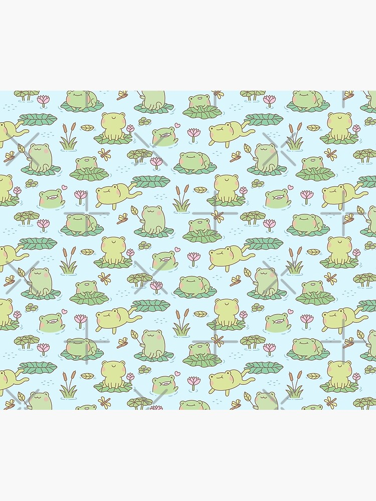 Cute Frogs and Dragonflies Pond Pattern by rustydoodle
