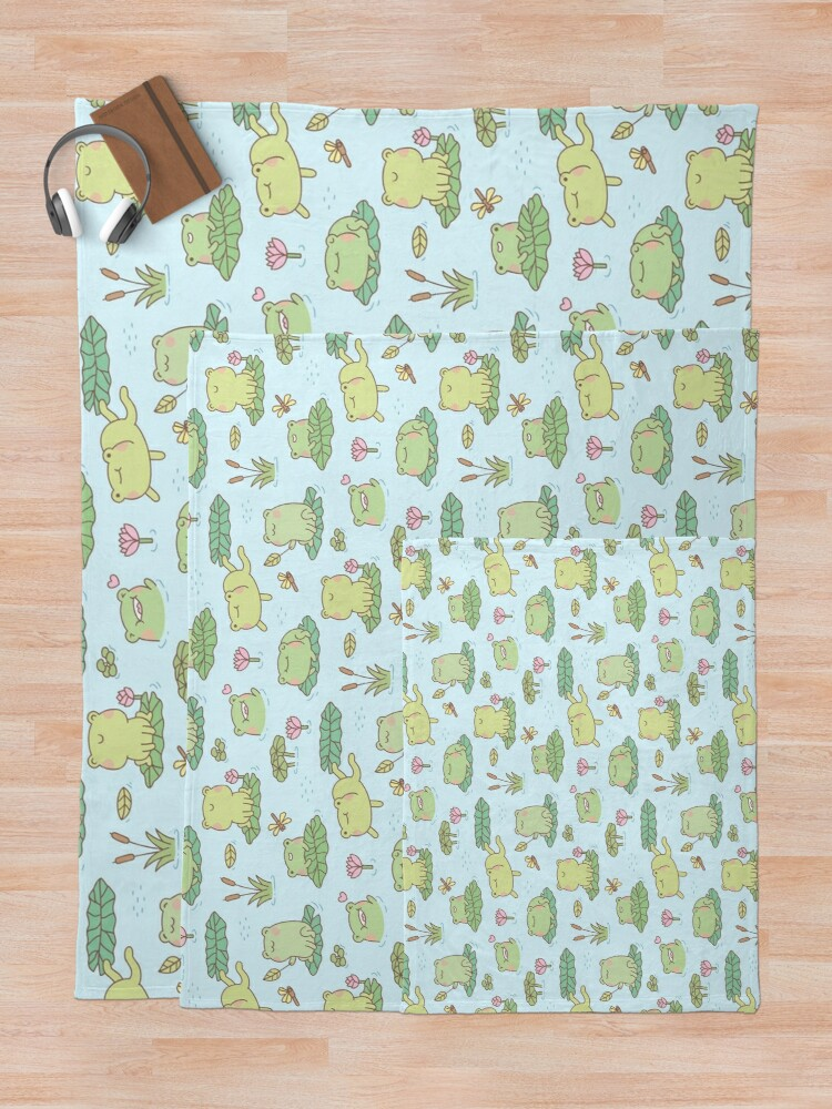 Alternate view of Cute Frogs and Dragonflies Pond Pattern Throw Blanket