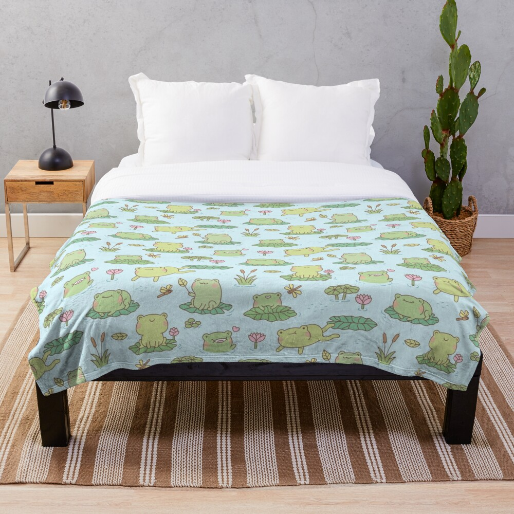 Cute Frogs and Dragonflies Pond Pattern Throw Blanket