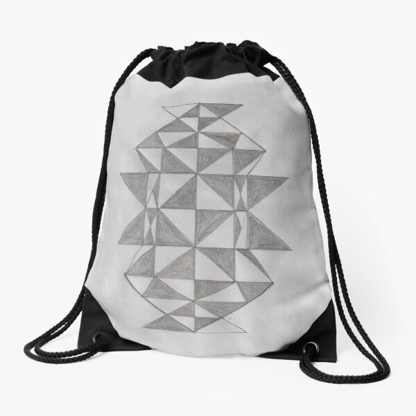 Triangular Geometric Shapes Drawstring Bag