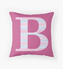 Letter B Blue And Pink Dots And Dashes Monogram Initial Throw Pillow