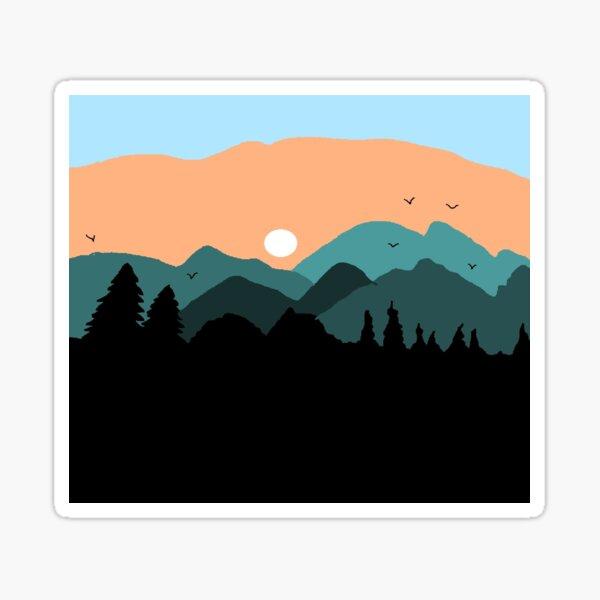 Sun and hills Sticker