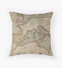 Vintage Map of Europe and The Mediterranean (1569) Throw Pillow