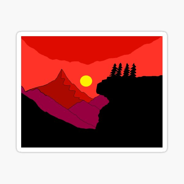 Sunrise and hills Sticker
