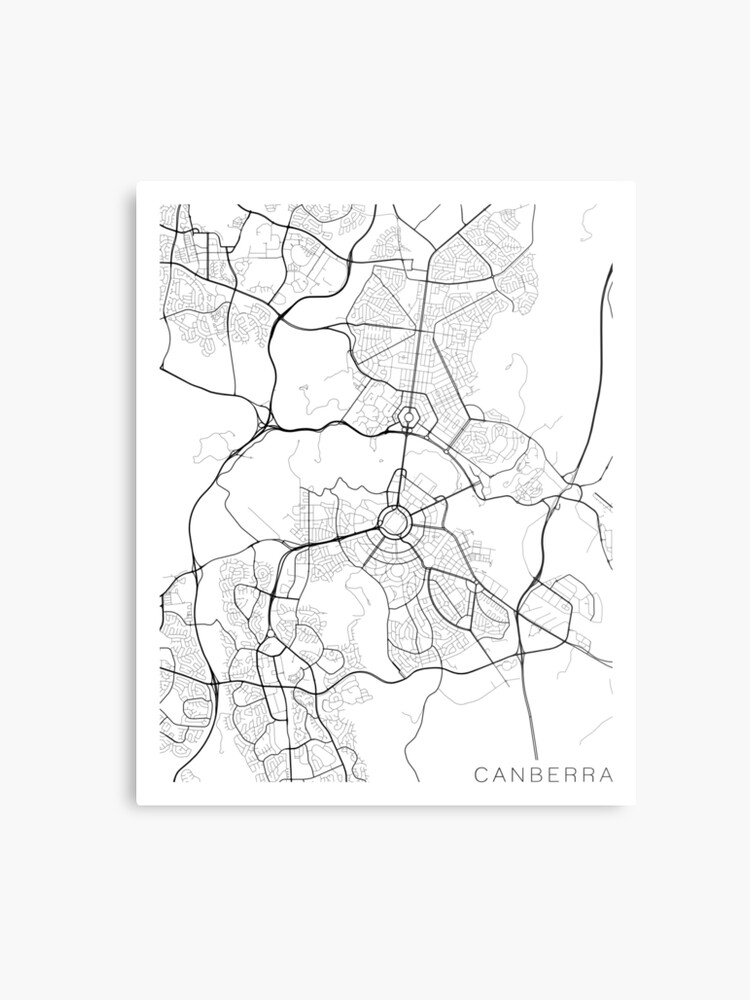Australia Canberra Map.Canberra Map Australia Black And White Metal Print By