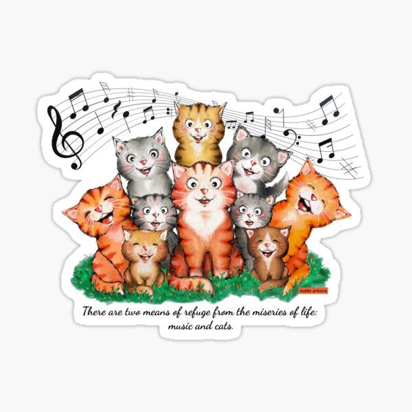 music and cats - Albert Schweitzer quote Sticker